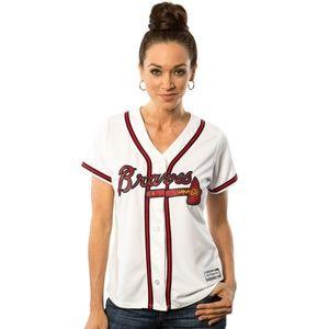 Women's Braves Tomahawk Baseball Jersey Button Up